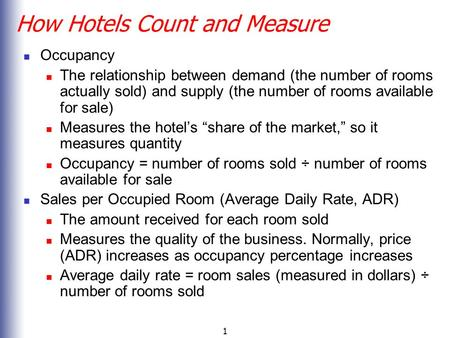 How Hotels Count and Measure