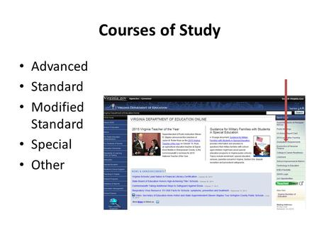 Courses of Study Advanced Standard Modified Standard Special Other.
