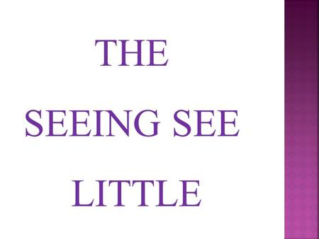 THE SEEING SEE LITTLE.