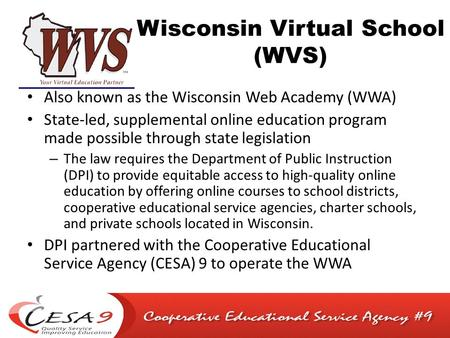 Wisconsin Virtual School (WVS) Also known as the Wisconsin Web Academy (WWA) State-led, supplemental online education program made possible through state.