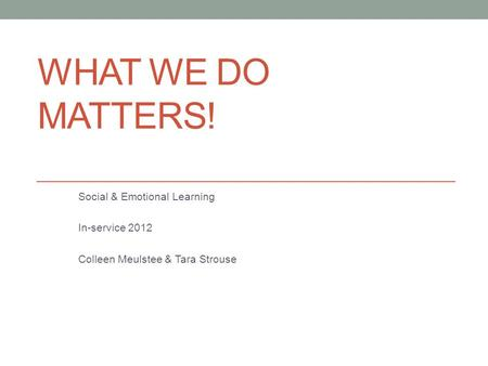 WHAT WE DO MATTERS! Social & Emotional Learning In-service 2012 Colleen Meulstee & Tara Strouse.