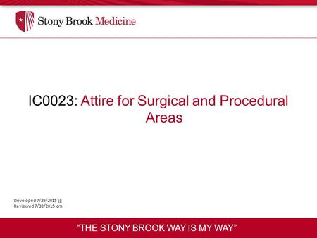 IC0023: Attire for Surgical and Procedural Areas