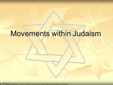 Movements within Judaism. Orthodox term applies to the traditional movement within modern Judaism based upon the strict adherence to the letter of the.