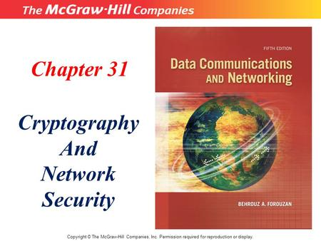 Chapter 31 Cryptography And Network Security Copyright © The McGraw-Hill Companies, Inc. Permission required for reproduction or display.