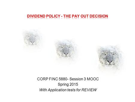 CORP FINC 5880- Session 3 MOOC Spring 2015 With Application tests for REVIEW.