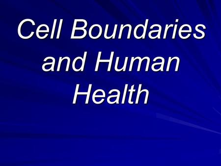Cell Boundaries and Human Health
