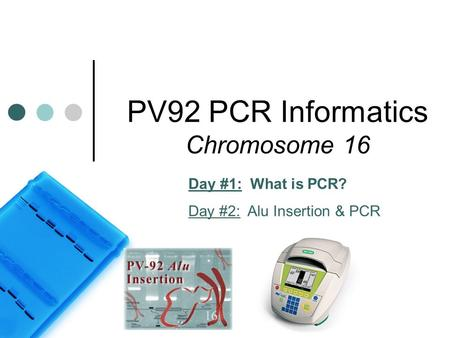 PV92 PCR Informatics Chromosome 16 Day #1: What is PCR? Day #2: Alu Insertion & PCR.
