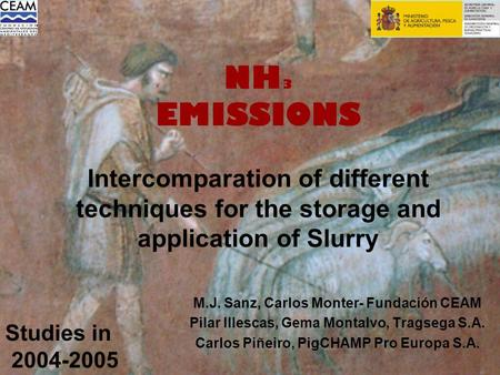 NH 3 EMISSIONS Intercomparation of different techniques for the storage and application of Slurry M.J. Sanz, Carlos Monter- Fundación CEAM Pilar Illescas,