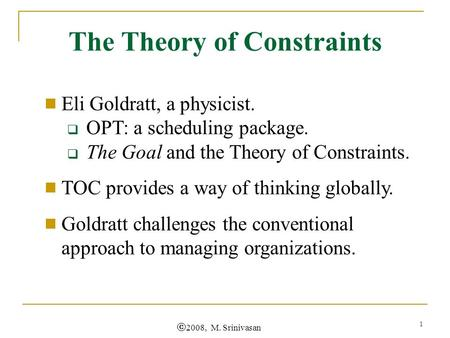 Goldratt's Theory of Constraints – The Principles & Processes