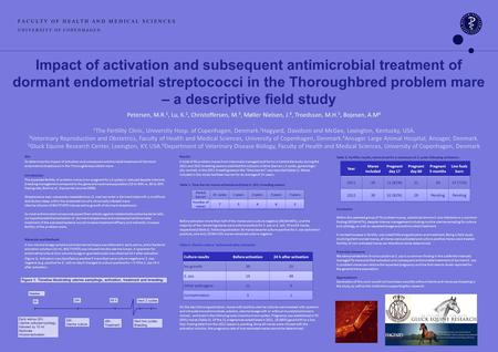 Impact of activation and subsequent antimicrobial treatment of dormant endometrial streptococci in the Thoroughbred problem mare – a descriptive field.