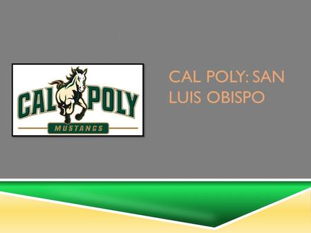 CAL POLY: SAN LUIS OBISPO Presented by: Alexis Philpott, Danielle Clarke, and Waverly Rocklin.