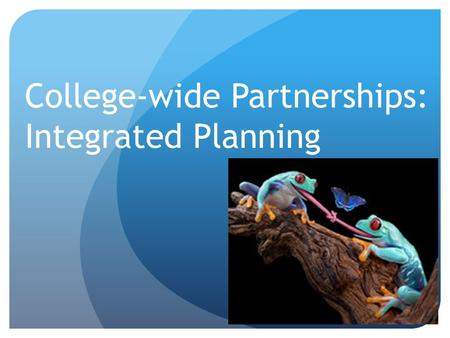 College-wide Partnerships: Integrated Planning. Once upon a time…