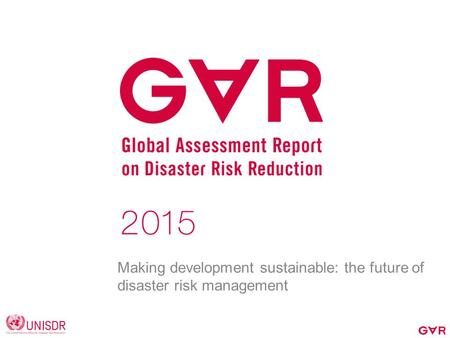 Making development sustainable: the future of disaster risk management.