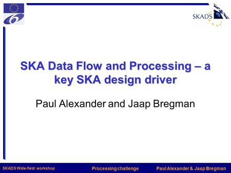 Paul Alexander & Jaap BregmanProcessing challenge SKADS Wide-field workshop SKA Data Flow and Processing – a key SKA design driver Paul Alexander and Jaap.