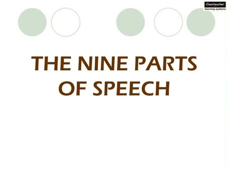 THE NINE PARTS OF SPEECH. A noun's the name of anything… …as in school or garden, slide or swing.