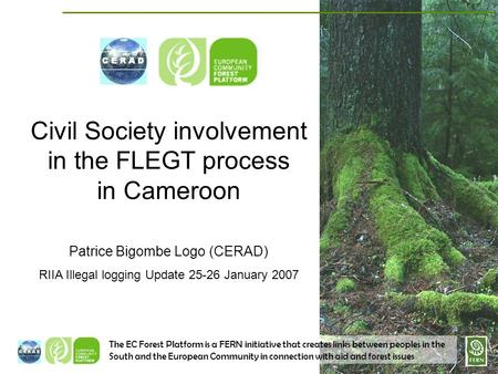 The EC Forest Platform is a FERN initiative that creates links between peoples in the South and the European Community in connection with aid and forest.
