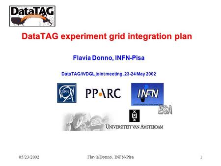 05/23/2002Flavia Donno, INFN-Pisa1 DataTAG experiment grid integration plan Flavia Donno, INFN-Pisa DataTAG/iVDGL joint meeting, 23-24 May 2002.