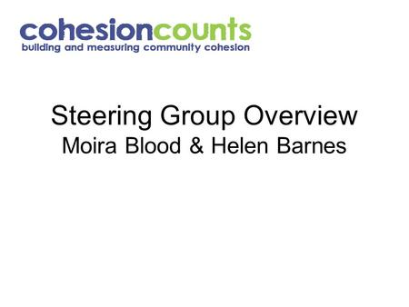 Steering Group Overview Moira Blood & Helen Barnes.