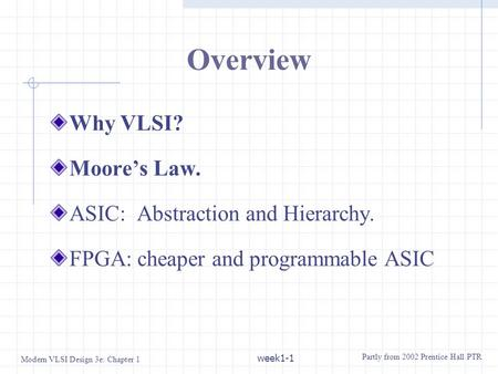 Overview Why VLSI? Moore's Law. ASIC: Abstraction and Hierarchy.