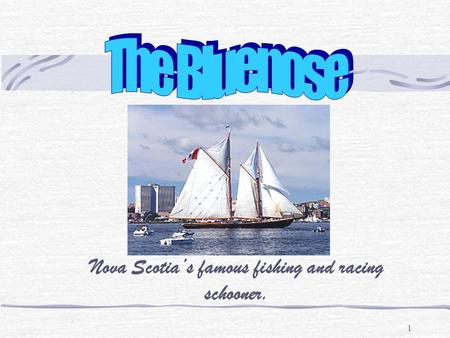 1 Nova Scotia's famous fishing and racing schooner.