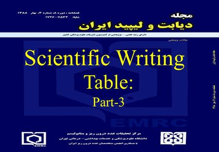 Scientific Writing Table: Part-3 Summary of last session Title: Informativness without text: group Vs given name… Topic or point Independent variable(s)