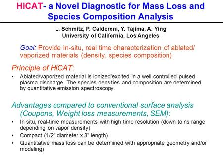 HiCAT- a Novel Diagnostic for Mass Loss and Species Composition Analysis Goal: Provide In-situ, real time characterization of ablated/ vaporized materials.