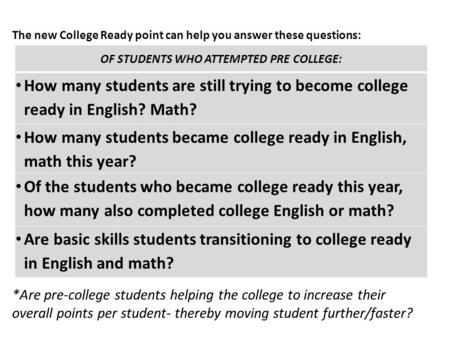 The new College Ready point can help you answer these questions: *Are pre-college students helping the college to increase their overall points per student-