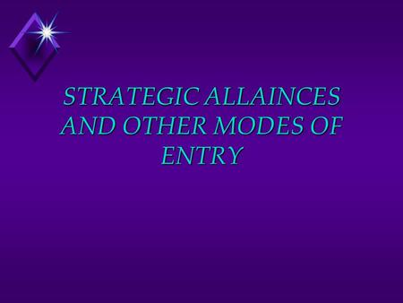STRATEGIC ALLAINCES AND OTHER MODES OF ENTRY. Strategic Alliances are agreements to collaborate with either actual or potential competitors Entry modes.