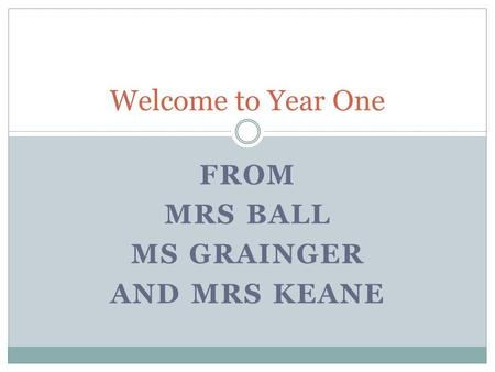 FROM MRS BALL MS GRAINGER AND MRS KEANE Welcome to Year One.