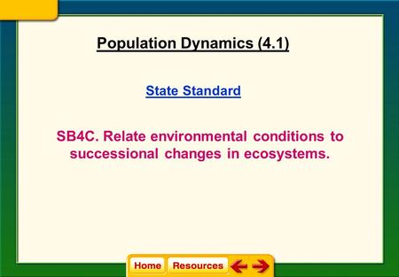 State Standard SB4C. Relate environmental conditions to successional changes in ecosystems. Population Dynamics (4.1)
