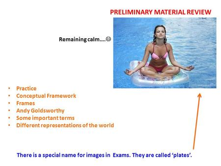 PRELIMINARY MATERIAL REVIEW Remaining calm…. There is a special name for images in Exams. They are called 'plates'. Practice Conceptual Framework Frames.
