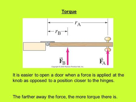 Torque It is easier to open a door when a force is applied at the knob as opposed to a position closer to the hinges. The farther away the force, the more.