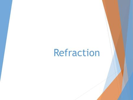 Refraction. Explore Angle of IncidenceAngle of Refraction 60° 50° 40° 30° 20° 10° 0°