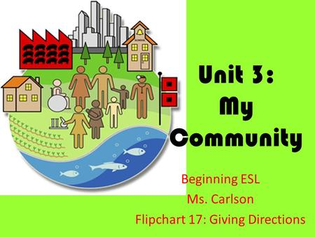 Unit 3: My Community Beginning ESL Ms. Carlson Flipchart 17: Giving Directions.