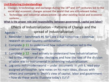 Effects of Industrialization – Patterns of Change and the spread of industrialization Unit Enduring Understandings 2.Changes in technology and exchange.
