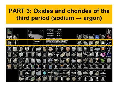 PART 3: Oxides and chorides of the third period (sodium  argon)