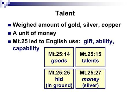 Talent Weighed amount of gold, silver, copper A unit of money Mt.25 led to English use: gift, ability, capability Mt.25:14 goods Mt.25:15 talents Mt.25:27.