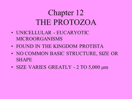 Chapter 12 THE PROTOZOA UNICELLULAR - EUCARYOTIC MICROORGANISMS