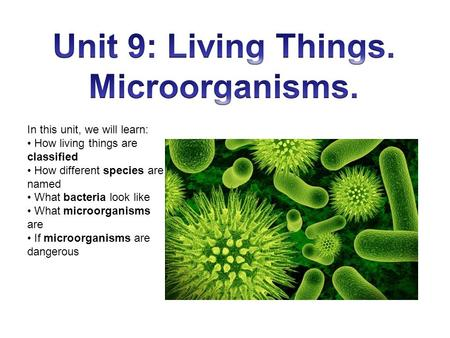 In this unit, we will learn: How living things are classified How different species are named What bacteria look like What microorganisms are If microorganisms.