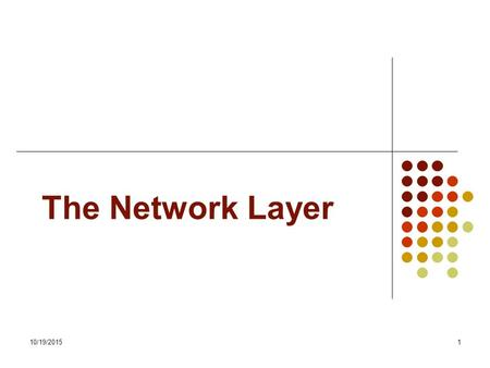 10/19/20151 The Network Layer. 10/19/20152 Introduction Route packets through subnet So, it must know the topology of the subnet It should also be able.
