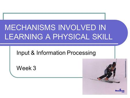MECHANISMS INVOLVED IN LEARNING A PHYSICAL SKILL Input & Information Processing Week 3.