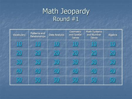Math Jeopardy Round #1 Vocabulary Patterns and Relationships Data Analysis Geometric and Spatial Sense Math Systems and Number Sense Algebra 10 20 30 40.