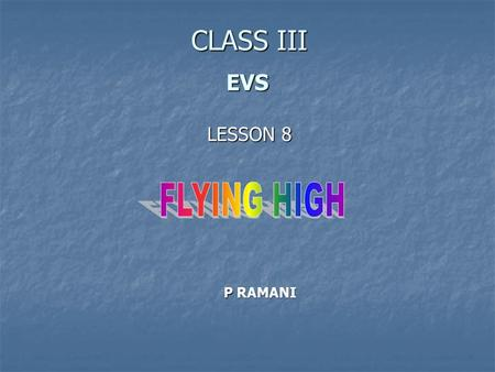 CLASS III EVS LESSON 8 FLYING HIGH P RAMANI.