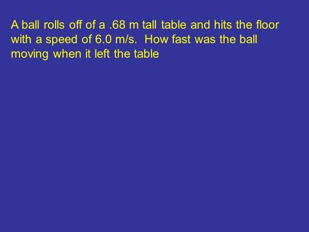 A ball rolls off of a.68 m tall table and hits the floor with a speed of 6.0 m/s. How fast was the ball moving when it left the table.