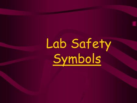 Lab Safety Symbols.