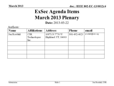 Submission doc.: IEEE 802-EC-13/0012r4 March 2013 Jon Rosdahl, CSRSlide 1 ExSec Agenda Items March 2013 Plenary Date: 2013-03-22 Authors: