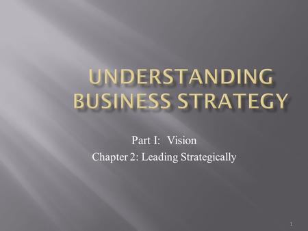1 Part I: Vision Chapter 2: Leading Strategically.