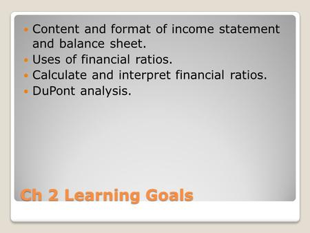 Financial Statements The Income Statement