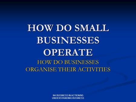 N4 BUSINESS IN ACTION/N5 UNDERSTANDING BUSINESS HOW DO SMALL BUSINESSES OPERATE HOW DO BUSINESSES ORGANISE THEIR ACTIVITIES.