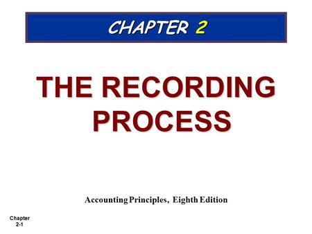 Chapter 2-1 CHAPTER 2 THE RECORDING PROCESS Accounting Principles, Eighth Edition.